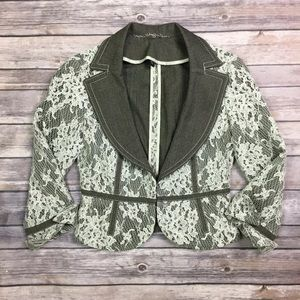 Bebe Olive Cream Lace Floral Embroidered Blazer